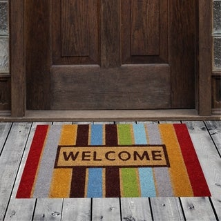 "Porch & Den Homestead Striped Welcome Multicolored Coir Doormat - 18 x 30"""