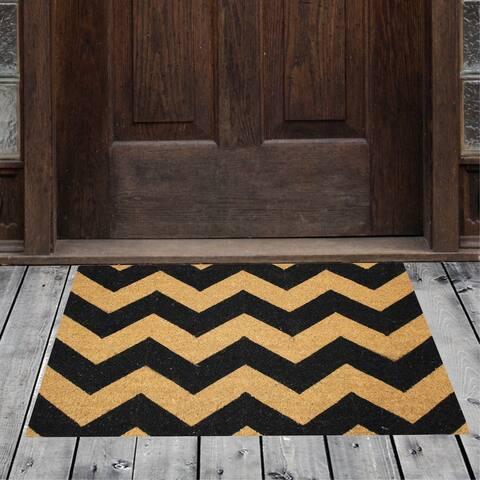 "Porch & Den Homestead Chevron Black/Beige Coir Doormat - 20 x 31"""