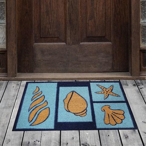 "Porch & Den Homestead Beach Seashells Blue/Sky Coir Doormat - 20 x 31"""