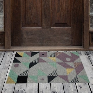 Porch & Den Homestead Geometric Shapes Multicolored Coir Doormat - 18 x 30""