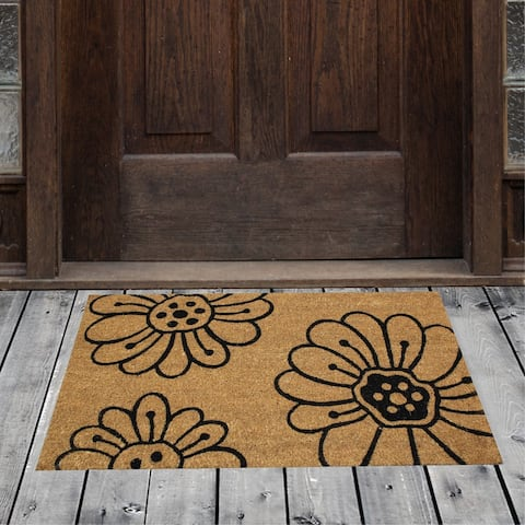 "Porch & Den Homestead Floral Pollen Black/Beige Coir Doormat - 18 x 30"""