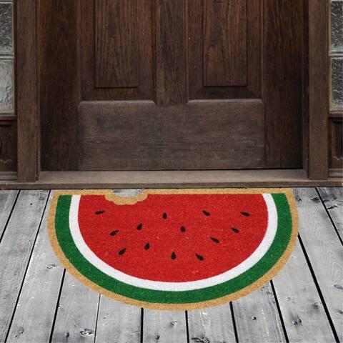 """Porch & Den Homestead Bitten Watermelon Red/Green Coir Doormat - 20 x 31"""""""