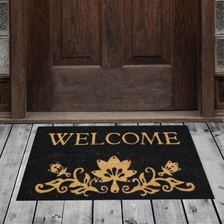 Porch & Den Homestead Floral Welcome Black/Beige Coir Doormat - 18 x 30""
