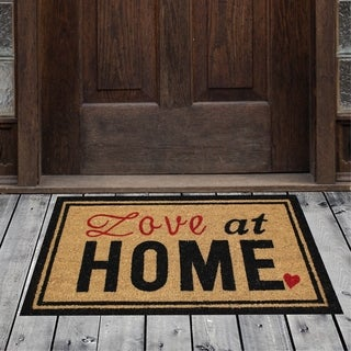 Porch & Den Homestead Love Home Bordered Black/Red Coir Doormat - 18 x 30""