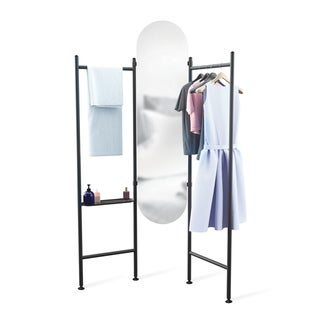 Umbra Vala Full Length Mirror and Clothing Valet, with Built-In Clothing Rack and Accessory Tray