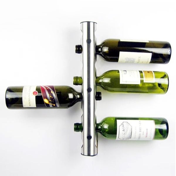 Stainless Steel Wine Rack Wall Mounted Home Red Wine Display For 8 Bottles