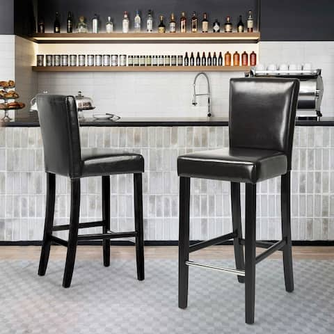 Furniture R Counter Height PU Faux Leather 24-inch Bar Stools