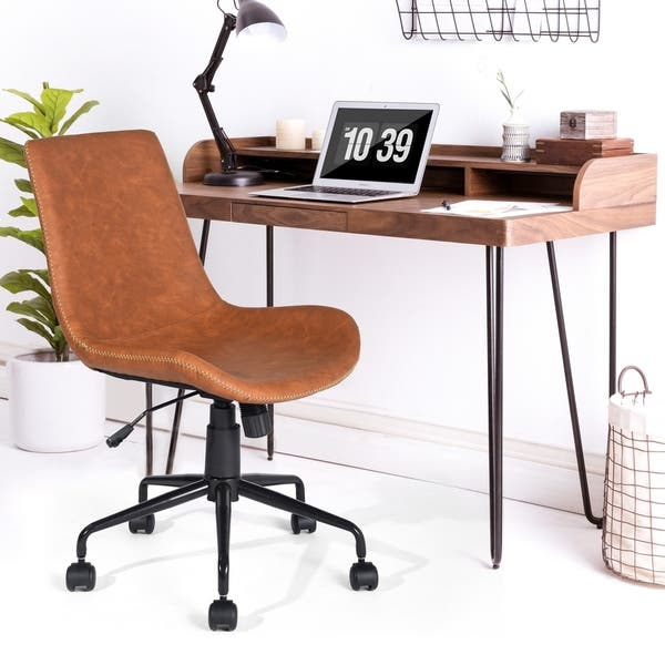 Swell Shop Porch Den Dozier Brown Faux Leather Home Office Desk Pabps2019 Chair Design Images Pabps2019Com