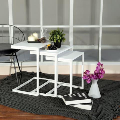 Carbon Loft Hutchinson White C-shape 3-piece Coffee Table Set