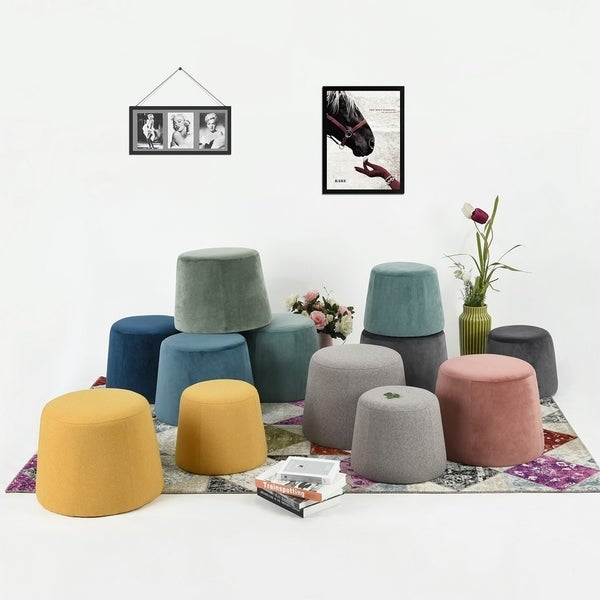 Porch & Den Eider Velvet Fabric Ottoman (Set of 2)