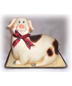 Happy Piggy Square Platter with Piggy Cover