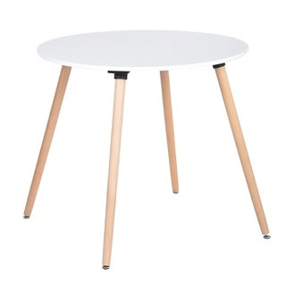 Carson Carrington Idehult Metal and Wood White Round Dining Table