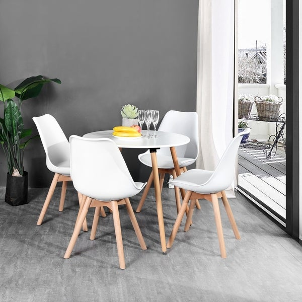 Carson Carrington Idehult Metal And Wood White Round Dining Table by Carson Carrington