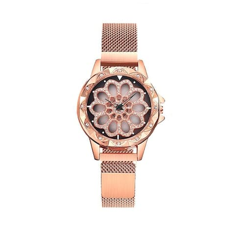 Stainless Steel Mesh Band Watch with Magnetic Strap and Spinning Dial