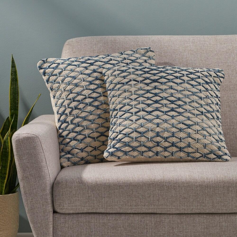 "Fleece Stripes Cushion Covers Size 18/"" x 18/"""