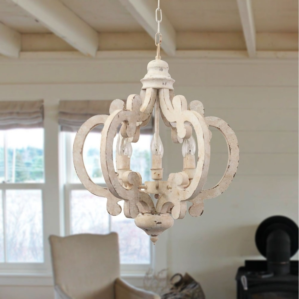 Dining Room DOCHEER Vintage 5-Light Distressed White Wood and Metal Chandelier Retro lron Wooden Chandeliers Farmhouse Style Ceiling Pendant Light Fixture for Foyer Bedroom Kitchen Living Room