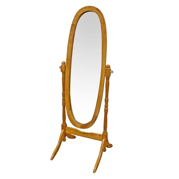 Copper Grove Artashat Oval Floor Mirror with Oak Brown Wood Frame/ Base and Crystal Knob Accents