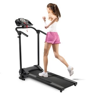 Folding Electric Treadmill Motorized Running Machine with Cup Holder and MP3 Player - Black