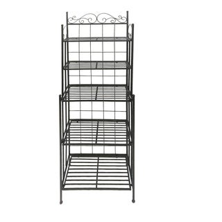 Five Tier Storage Metal Bakers Rack with Scrollwork Accents, Black
