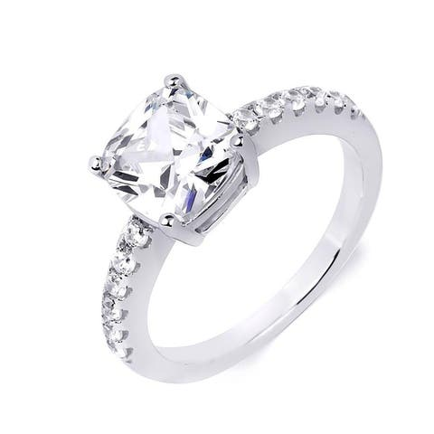 Sterling Silver 3.1 Carat Cubic Zirconia Cushion Cut Engagement Ring