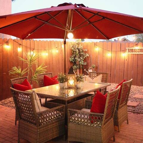 Havenside Home Acapulco 11-foot Solar-Powered Offset Cantilever Patio Umbrella with Cross Base