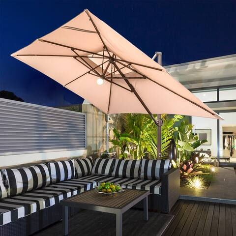 9' x 12' Rectangular Offset Cantilever Solar Powered Patio Hanging Umbrella with Cross Base