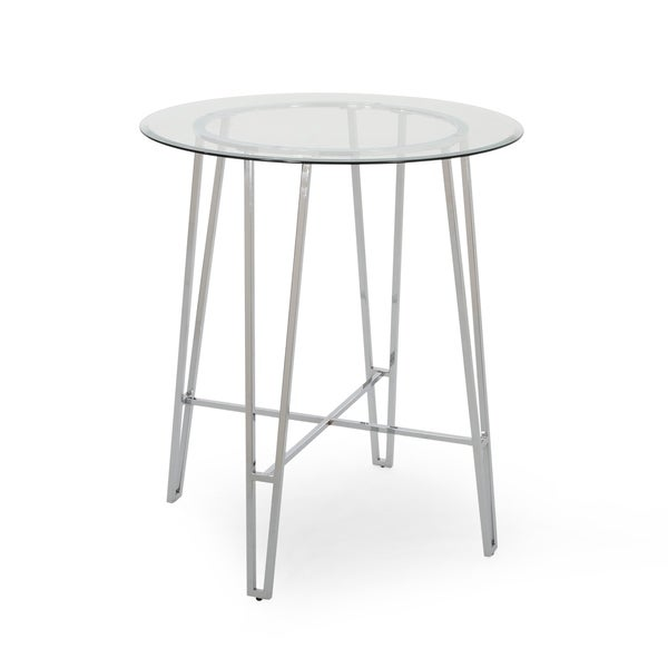Acme Modern Bar Table with Tempered Glass Round Top by Christopher Knight Home. Opens flyout.