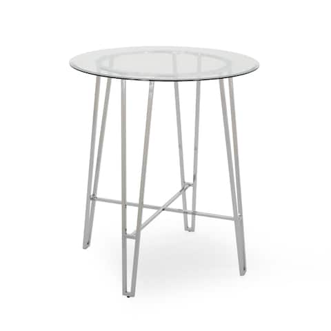 Acme Modern Bar Table with Tempered Glass Round Top by Christopher Knight Home - N/A