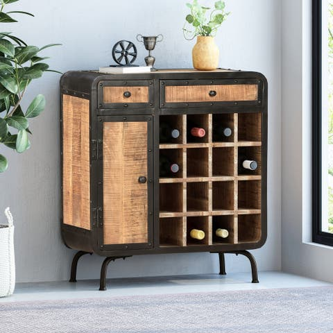 Carmine Modern Industrial Mango Wood Wine Rack by Christopher Knight Home