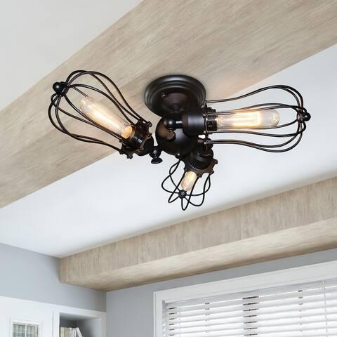 Carbon Loft Memnet Wire Cage Ceiling Lights 3-light Adjustable Flush Mount Ceiling Lamps
