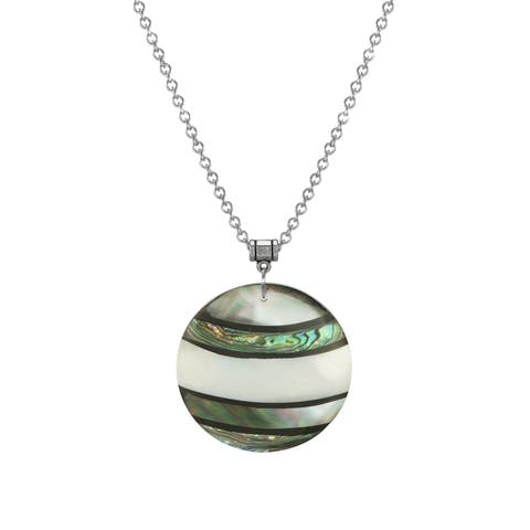 Handmade Jewelry by Dawn Round Shell Pendant Stainless Steel Chain Necklace (USA) - N/A