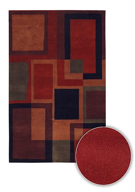 Artist's Loom Hand-tufted Contemporary Geometric Wool Rug - 8' x 11'