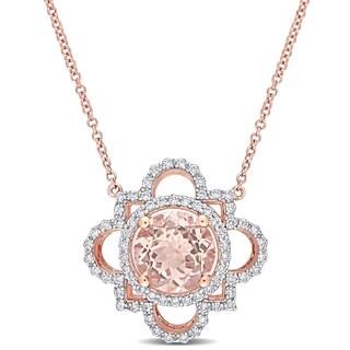 Miadora 14k Rose Gold Morganite And 1 2ct TDW Diamond Geometric Flower Necklace