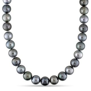 Miadora 14k White Gold Tahitian Cultured Pearl Necklace With Diamond Ball Clasp 13 14 Mm