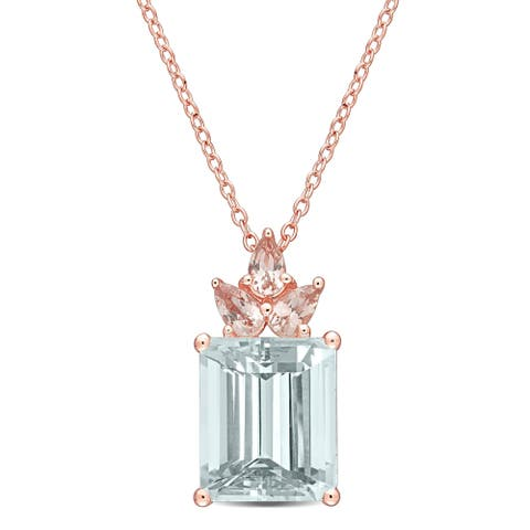 Miadora Rose Plated Sterling Silver Ice Aquamarine and Morganite Floral Drop Necklace