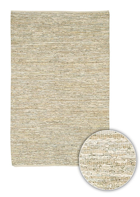Artist's Loom Hand-woven  Casual Reversible Natural Eco-friendly Leather Rug (5'x7'6)