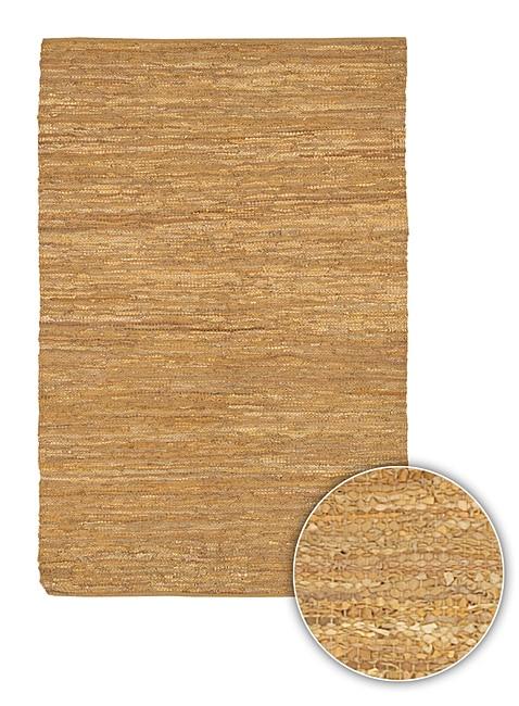 Artist's Loom Handmade Flatweave Casual Reversible Natural Eco-friendly Leather Rug (9'x13')