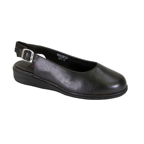24 HOUR COMFORT Lucille Extra Wide Width Closed Toe Leather Slingback