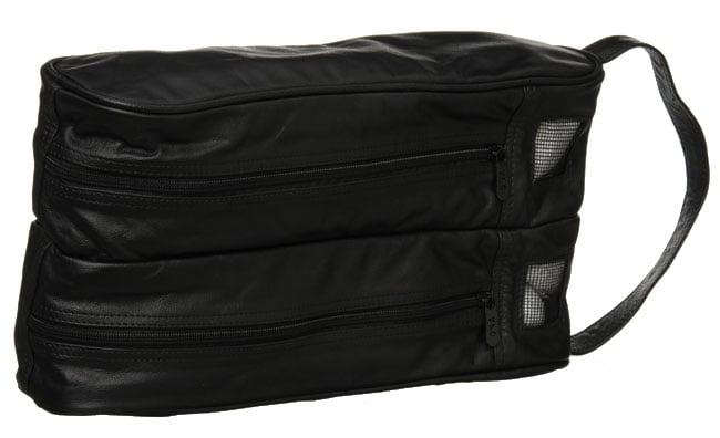 Amerileather Black Leather Golf Shoe Bag