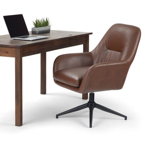 WYNDENHALL Juno Swivel Adjustable Executive Computer Office Chair in Brown