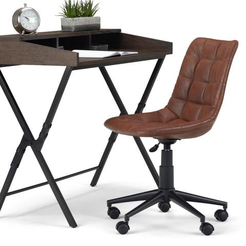 WYNDENHALL Costner Swivel Adjustable Executive Computer Office Chair in Distressed Cognac