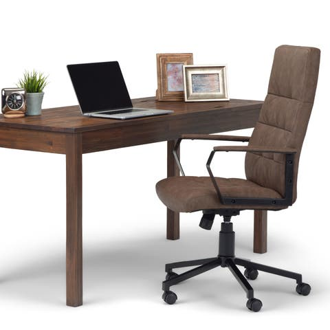 WYNDENHALL Parks Swivel Adjustable Executive Computer Office Chair in Distressed Brown