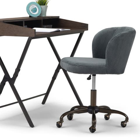 WYNDENHALL Higgins Swivel Adjustable Executive Computer Office Chair in Grey
