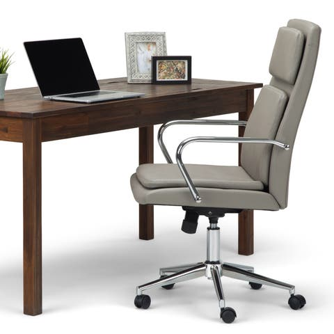 WYNDENHALL Gentry Swivel Adjustable Executive Computer Office Chair in Taupe