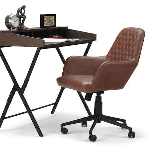 WYNDENHALL Sims Swivel Adjustable Executive Computer Office Chair in Distressed Cognac