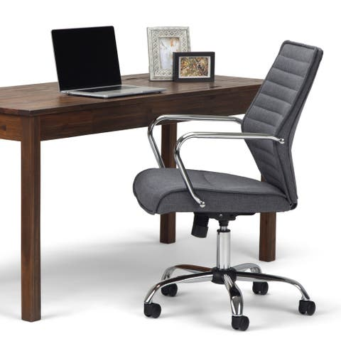 WYNDENHALL Leland Swivel Adjustable Executive Computer Office Chair in Grey