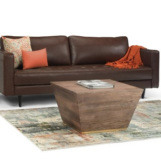 WYNDENHALL Gillean Solid Mango Wood 28 inch Wide Square Modern Coffee Table in Dark Brown, Fully Assembled - 28 x 28 x 18.5