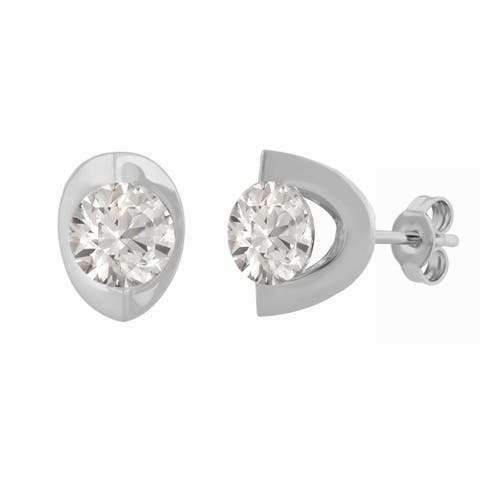 Divina Sterling Silver Round-cut Swarovski Eclipse Stud Earrings