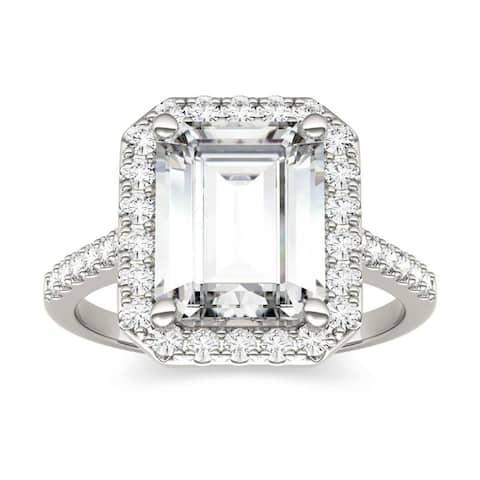 Moissanite by Charles & Colvard 14k White Gold Emerald Halo Engagement Ring 4.06 TGW