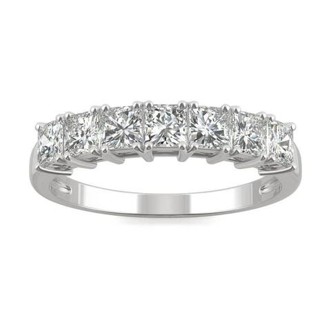 Moissanite by Charles & Colvard 14k White Gold Square Brilliant Anniversary Band 1.26 TGW
